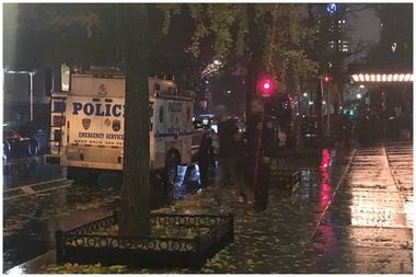 A man was led out of the Gramercy Park Hotel in handcuffs Tuesday evening, sources said.