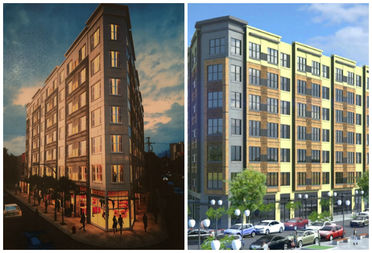 The latest rendering (left) compared to the rendering proposed in May (right).