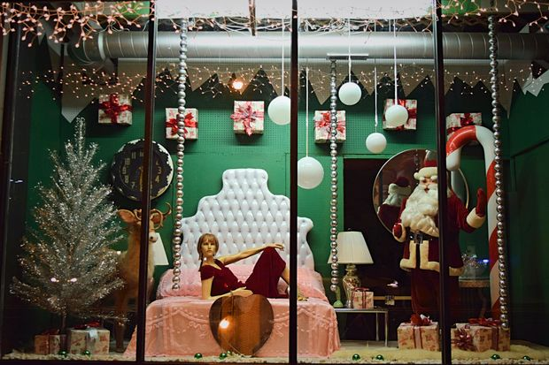 The window displays at Broadway Antique Market and Edgewater Antique Mall harken back to a vintage Christmas scene.