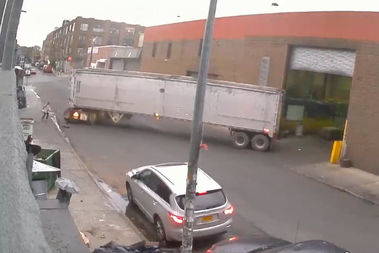 A backing up truck nearly clipped a skateboarder, in one of more than 1,200 videos prepared by activists trying to shut down Brooklyn Transfer LLC.