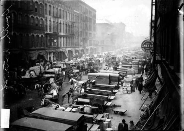 Historical photos of Fulton Market.