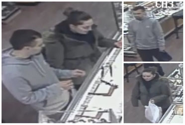Police say the man and woman stole two rings from an Astoria jewelry store on Nov. 28, 2016.