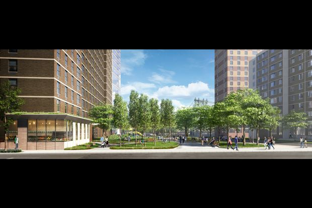 A rendering shows the landscaped courtyard planned for the development at 260 South St.