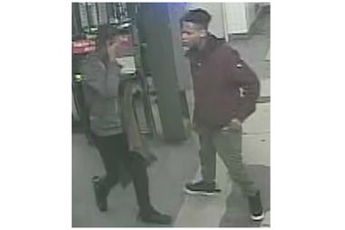 Police are looking for two men who slashed and sprayed Mace at two 6 train passengers Thursday evening.