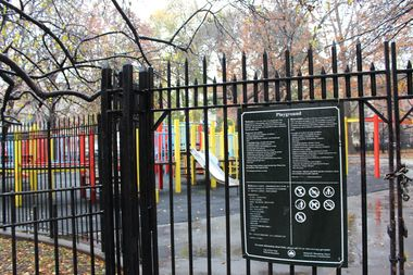 The fences immediately surrounding Tompkins Square Park playgrounds currently stand at seven feet.