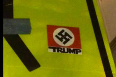 A South Loop woman posted this photo of a swastika sticker to Facebook this week. The neighborhood alderman says city workers have been busy removing such stickers in the neighborhood since last month's election.