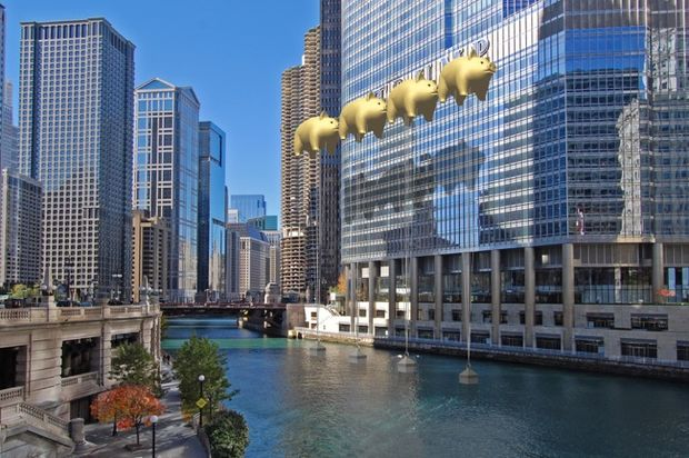 A Chicago architect thinks these golden pig balloons are the best way to hide the Trump Tower sign.