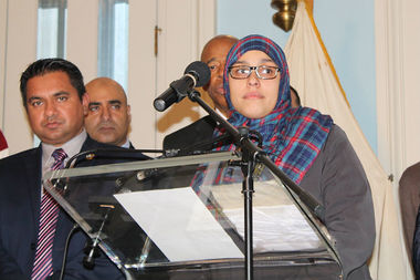 Aml Elsokary speaks at a press conference at Brooklyn Borough Hall after a man was arrested for allegedly threatening to cut her throat and shouting ISIS at her while she was off-duty in Bay Ridge.