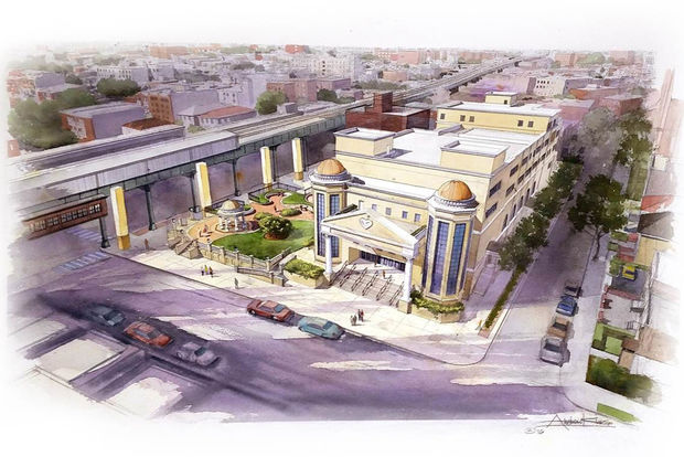 A rendering of the proposed new church building and public plaza space.