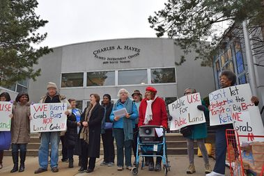 Rogers Park residents, mostly seniors, spoke out against a Target proposed for Rogers Park that would impact their public housing building and quality of life.