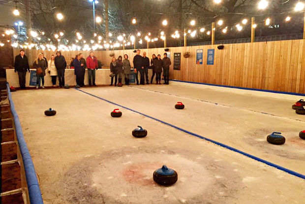 The owners of Kaiser Tiger have transformed the bar's beer garden into ice curling rinks for the winter season.