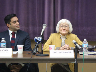 Sufyan Sohel of the Council on American Islamic Relations and World War II detainee Chiyoko Omachi urge the nation not to return to the