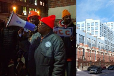 Vaughn Armour of New York Communities for Change, left, leads a chant at a protest outside the Bedford-Union Armory on Tuesday night. The armory may be redeveloped into house and a recreation center, right.