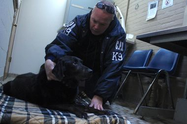 Canine handler Officer Michael Walter says goodbye to his four-year canine partner, Bob, before she's put to sleep.