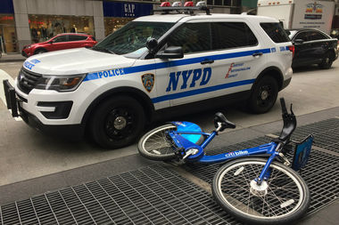 She was hit between 48th and 47th streets and taken to Bellevue Hospital, officials said.