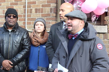 Councilman Rafael Salamanca spoke outside of the building where two young girls were killed by a faulty radiator on Wednesday to announce his proposed legislation to prevent such tragedies from occurring in the future.