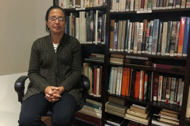 Sybil Ward, 67, sits at her temp job as a law library assistant in Lower Manhattan.