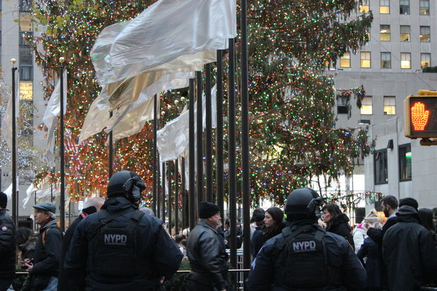 A police officer arrested a man after watching him grope four women near the Rockefeller Center Christmas tree, according to court documents.
