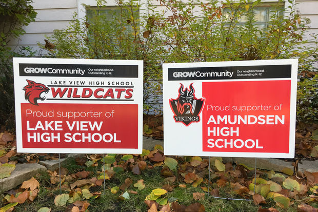 Yard signs are now available for people who want to show support for Amundsen and Lake View high schools.