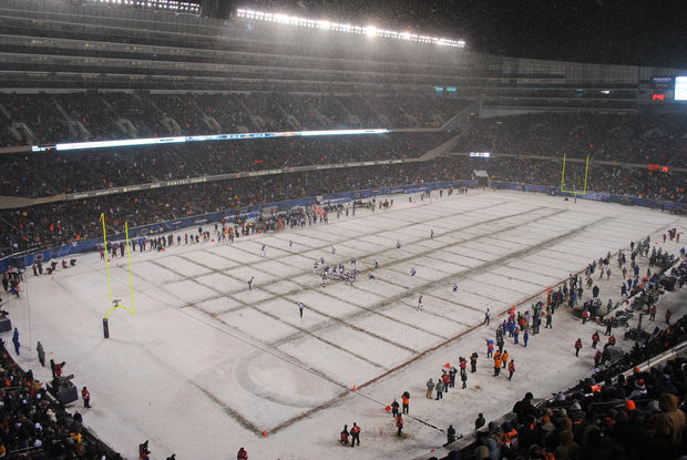 A snow-covered Soldier Field from 2010. Sunday's game against the Packers could be the coldest Bears game ever at Soldier Field.
