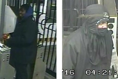 The suspect in a pair of 14th Street muggings flees one of the crimes (right) and uses a stolen Metrocard at the Utica Avenue stop in Brooklyn (left), according to police.