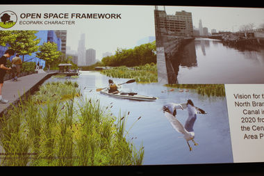After and before images of the North Branch Canal, which could be converted into an eco-park, in a slide presented Tuesday by the Department of Planning and Development.