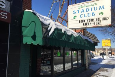 Cullinan's Stadium Club was closed Tuesday. Three green stickers were stuck onto the windows, saying the business license had been revoked for the bar and grill at 11610 S. Western Ave. in Morgan Park.