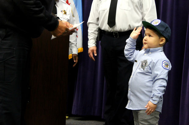 David Juarez, a 3-year-old Belmont-Craigin boy battling a form of cancer known as neuroblastoma, was sworn in as an Honorary Chicago Police Officer Wednesday morning.