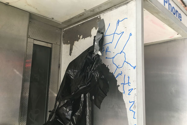Swastikas and anti-semitic language were scrawled on building along Broadway between West 103rd and 105th streets.