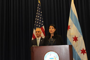 Anna Valencia addresses the press after being introduced as the new City Clerk by Mayor Rahm Emanuel.