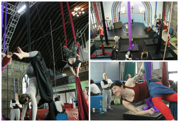Students learning trapeze at Aloft Circus Arts, which is located inside a 109-year-old church at Wrightwood and Kimball avenues.