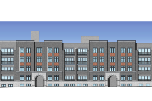 A rendering for the new proposed condo building at 1743 W. Rosehill Ave.