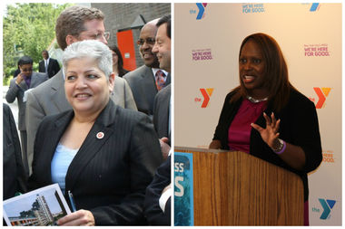 Former South Bronx Councilwoman Maria del Carmen Arroyo (L) and current South Bronx Councilwoman Vanessa Gibson (R) have both been hit with fines from the Campaign Finance Board for their 2013 campaigns.