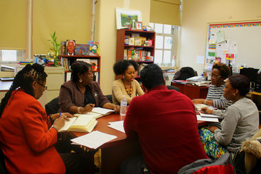 School leaders in central Brooklyn met this month at the Brooklyn Brownstone School as part of District 16's district-charter school collaboration, where administrators exchange ideas and strategies.