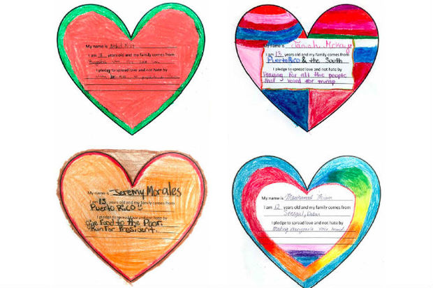 Students at Clinton Hill's Urban Assembly Unison School are pledging to spread love instead of hate. Their pledges will be featured in a new calendar, the proceeds of which will go toward student uniforms and activities.