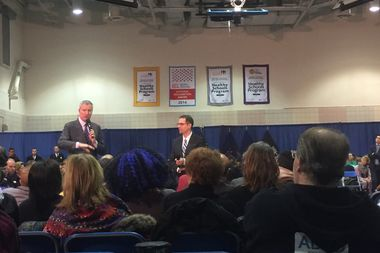 Several media outlets were initially barred from Mayor Bill de Blasio's Town Hall meeting on Thursday in the Upper West Side.