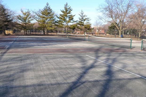 The careworn Oz Park tennis courts are