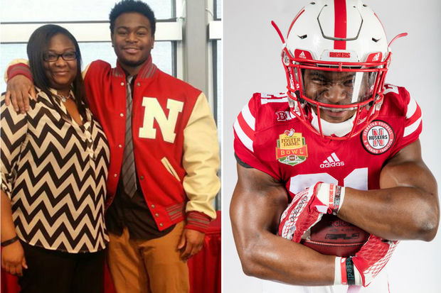 De La Salle Institute grad Mikale Wilbon with his mom, Kelly, is a sophomore at Nebraska.