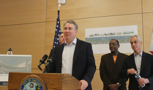 Ken Griffin speaks about his donation Tuesday at Ellis Park, 3520 S. Cottage Grove Ave.