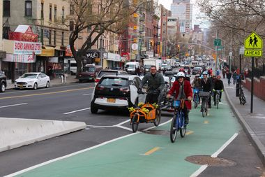 DOT Commissioner Polly Trottenberg led the charge in an inaugural ride down the newly finished Chrystie Street bike lane.