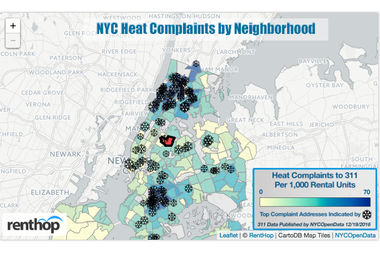 This interactive map shows the number of heat complaints registered via 311 in each neighborhood in 2016 so far, compared to the same period in 2015.