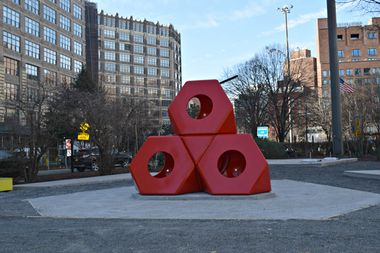 A sculpture by artist Isamu Noguchi was installed in Hudson Square near the Holland Tunnel this week.