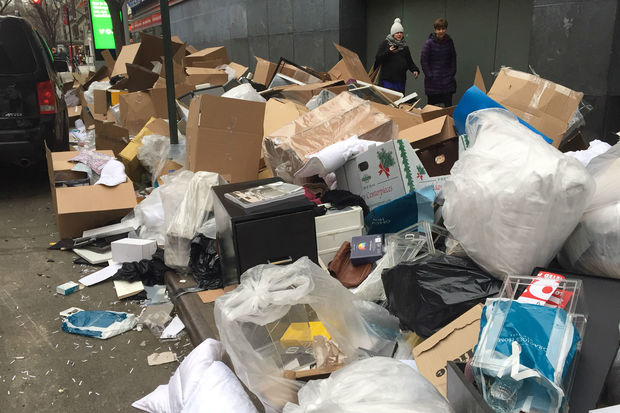 Gracious Home garbage was found littered along West 68th Street.