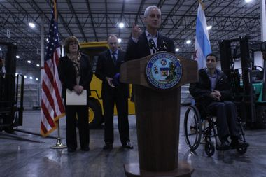 Mayor Rahm Emanuel speaks at the official opening of the first of three warehouses comprising the O'Hare Northeast Cargo Center.
