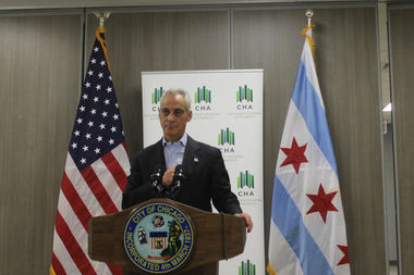 Mayor Rahm Emanuel discusses his use of private email at Jane Addams Digital Learning Center, 1254 S. Loomis Ave.