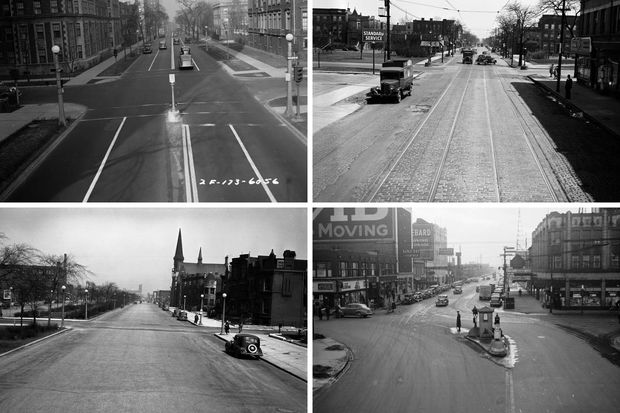 CLOCKWISE FROM TOP LEFT: The intersection of Sheridan Road and Wellington Avenue, Dec. 15, 1936; The intersection of Independence Boulevard and Harrison Street, April 26, 1939; The intersection of Sheridan Road and Devon Avenue, undated; and the intersection of South Parkway (Martin Luther King Drive) and 42nd Street, April 27, 1939.