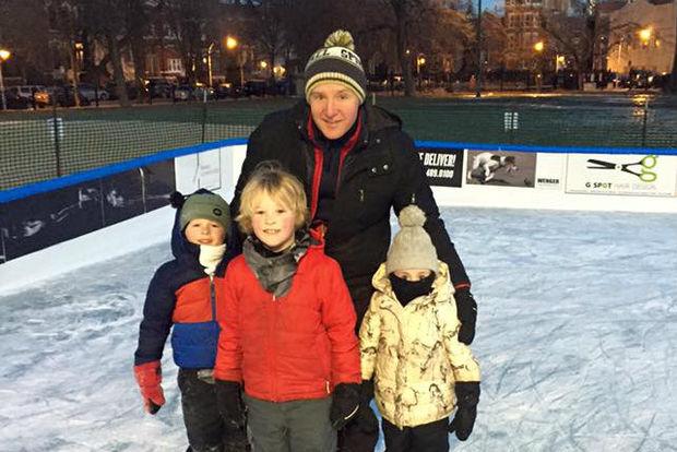 Spikeball founder Chris Ruder at the Wicker Park ice rink with his three children: Beckett, 8; Elliot, 7; and Hattie, 5.