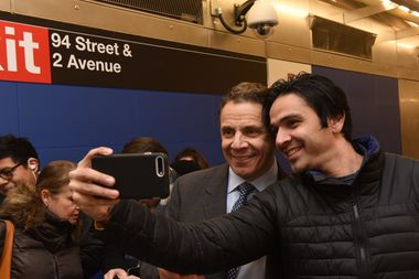 Cuomo took selfies with people at the Second Avenue Subway open house last week.