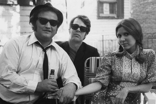 John Belushi, Dan Aykroyd and Carrie Fisher.