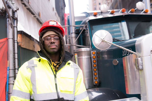 Tyrone Gooding at work on a new building near Times Square. He joined the Metallic Lathers union through an apprenticeship program for residents affected by Hurricane Sandy.